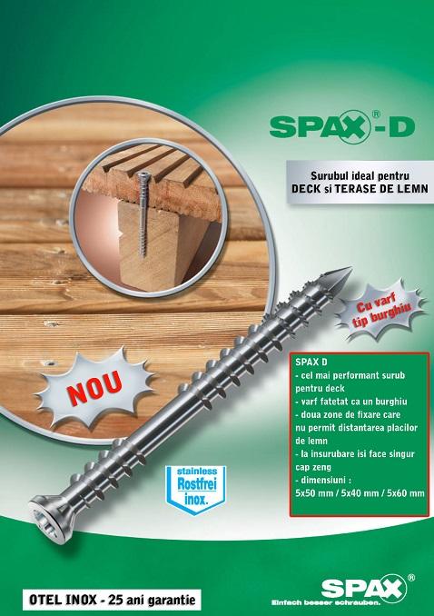 Suruburi din inox pentru deck - Spax D