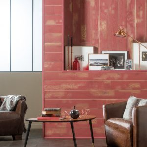 Panou Decorativ Lemn Stejar Cabane Rosu 141